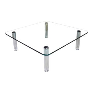 Large Square Rounded Corners Glass Top Coffee Table on Cylinder Lucite Legs 3/4