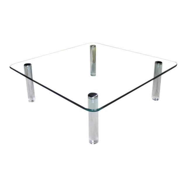 world class large square rounded corners glass top coffee table on cylinder lucite legs 3 4 decaso. Black Bedroom Furniture Sets. Home Design Ideas
