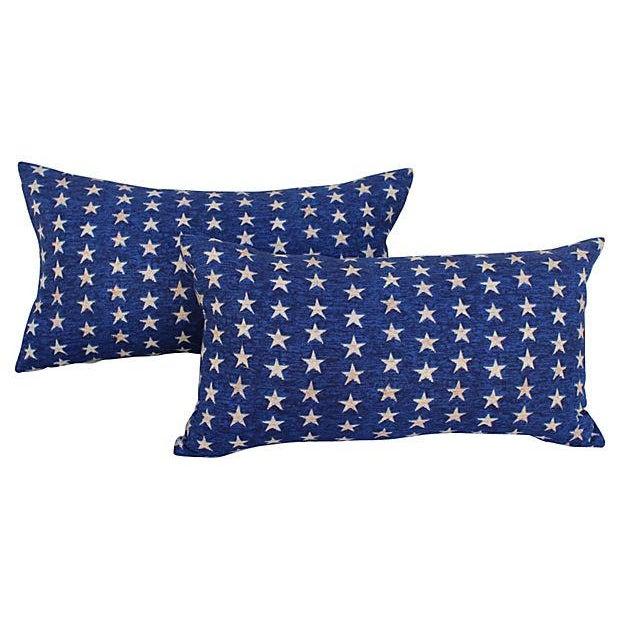 Folk Art Americana Stars Pillows - Pair - Image 1 of 5