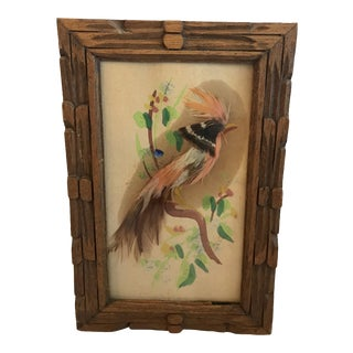 Vintage Mid-Century Feather Bird Art For Sale