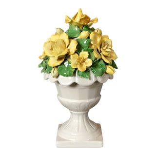 Vintage Italian Ceramic Lidded Yellow Rose Topiary Jar For Sale