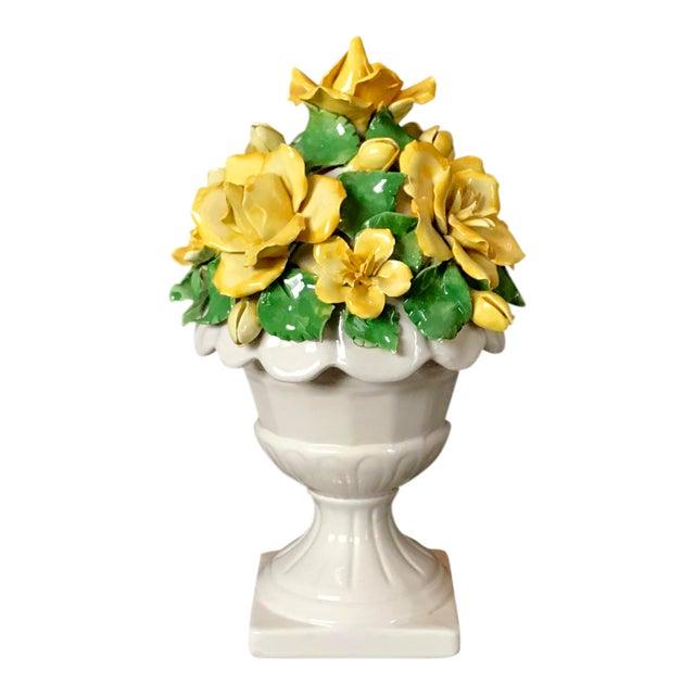 Vintage Italian Ceramic Lidded Yellow Rose Topiary Jar For Sale