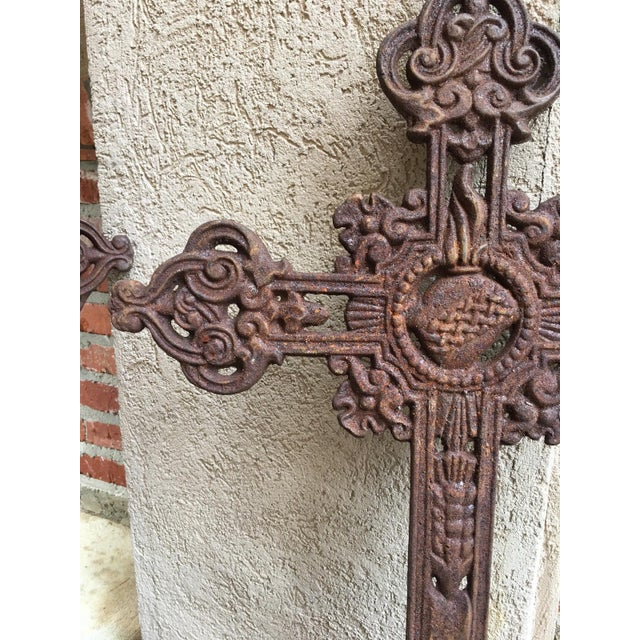 Antique French Cast Iron Cross Crucifix Chapel Garden Architectural Cemetery For Sale - Image 4 of 7
