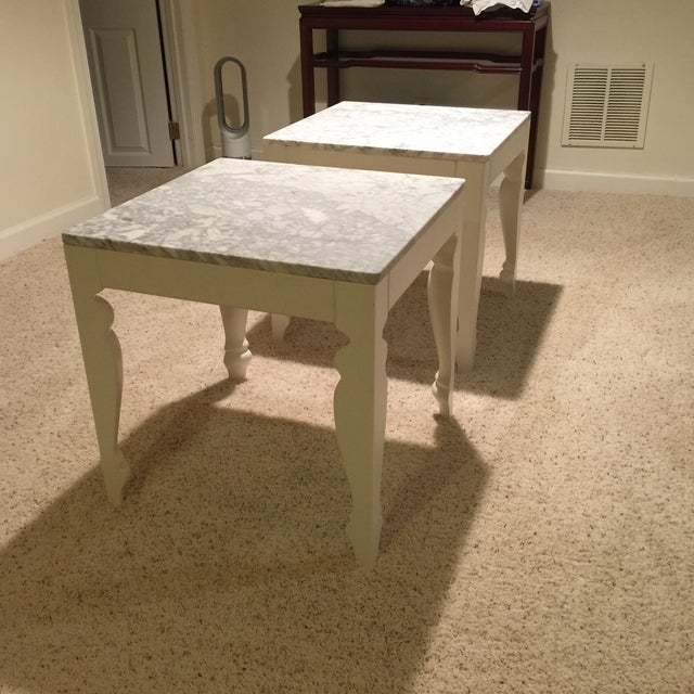 Marble & Wood End Tables - A Pair - Image 5 of 5