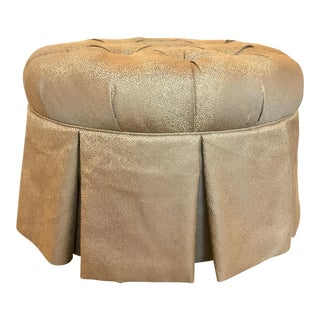 Kincaid Modern Gray and Gold Round Tufted Ottoman For Sale