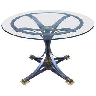 Neoclassical Steel and Gilt Bronze Table in the Style of Maison Jansen For Sale