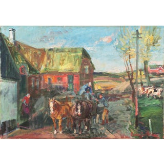 'Rural Farm Scene' by Ludvig Jacobsen, Post-Impressionist, Paris Salon, Royal Academy, Benezit For Sale