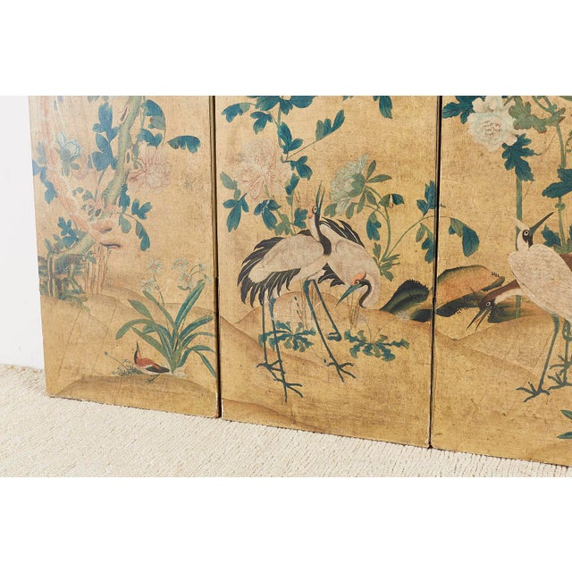 Continental Painted Chinoiserie Wallpaper Screen With Decoupage For Sale - Image 10 of 13
