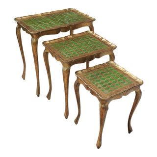 Vintage Italian Gold & Green Tole Nesting Tables Gilt Florentine Set of 3 For Sale