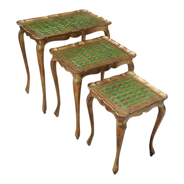Vintage Italian Gold & Green Tole Nesting Tables Gilt Florentine Set of 3 For Sale