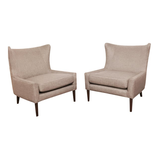 Brand New Modern Wingback Chairs - A Pair - Image 1 of 4
