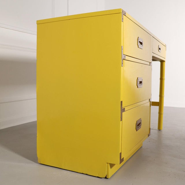 1970s Lacquered Bright Yellow Campaign Desk For Sale - Image 5 of 10