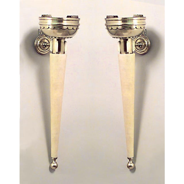 Art Deco Pair Of French Art Deco Parchment Torch Design Wall Sconces For Sale - Image 3 of 3