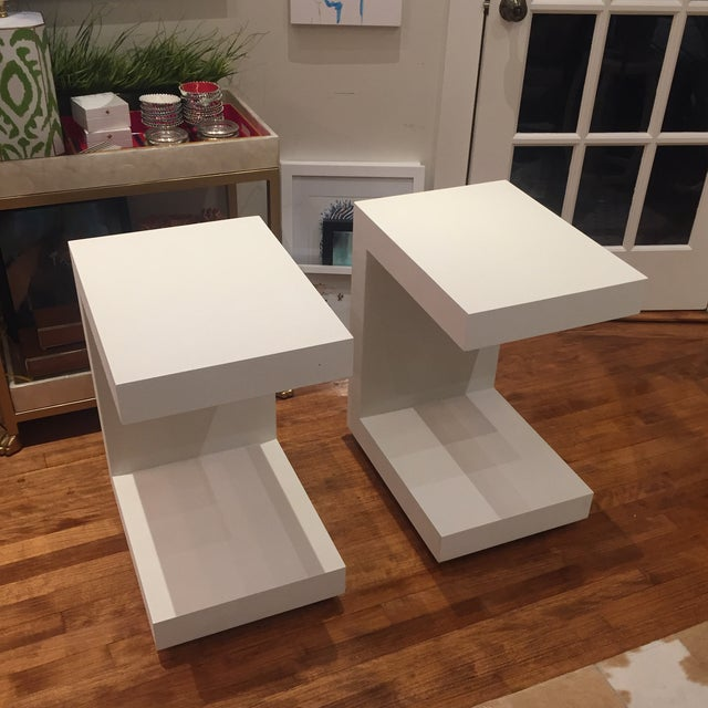Contemporary Bungalow 5 Linen Side Tables- a Pair For Sale - Image 3 of 12