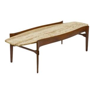 Bertha Schaefer Travertine Coffee Table For Sale
