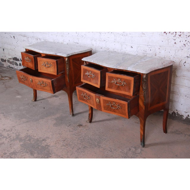 Bronze Louis XV Style Inlaid Mahogany Marble Top Nightstands or Commodes, Pair For Sale - Image 7 of 13