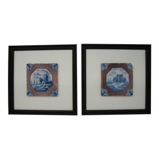Vintage Dutch Tiles - a Pair For Sale