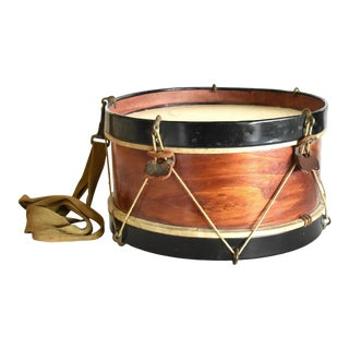 Antique Toy Wood and Leather Drum For Sale