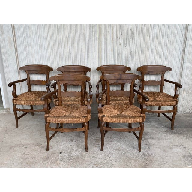 19th Century Set of Six Armchairs With Straw Seat. Dining Room Chairs For Sale - Image 13 of 13