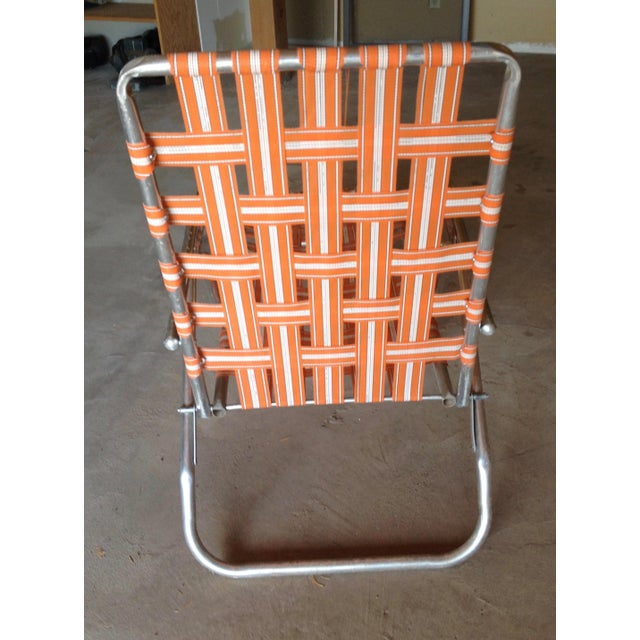 Mid-Century Aluminum Webbed Outdoor Chaise Lounge For Sale - Image 5 of 8