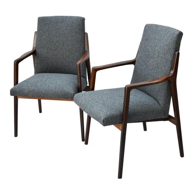 Danish Mid Century Modern Highback Walnut Chair Pair For Sale