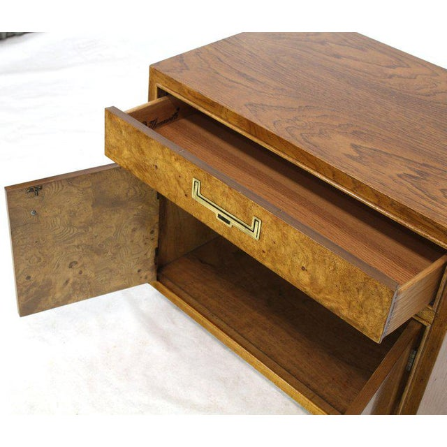 Light Burl Wood Campaign Nightstands Bed Tables Brass Hardware - A Pair For Sale In New York - Image 6 of 13