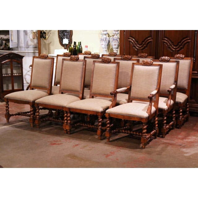Suite of Twelve Carved Walnut Chairs From Ralph Lauren With Chenille and Leather For Sale - Image 13 of 13