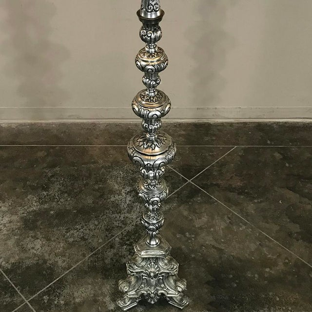 Mid 20th Century Antique Italian Baroque Silver Plated Brass Floor Lamp For Sale - Image 5 of 11