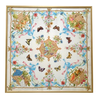 Vintage Gucci Silk Butterfly and Fruit Scarf Framed For Sale