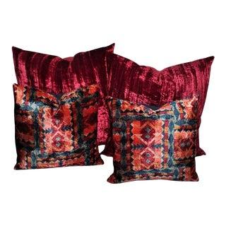 Amazing Red Silk Velvet and Multicolored Pattern Velvet Pillows For Sale