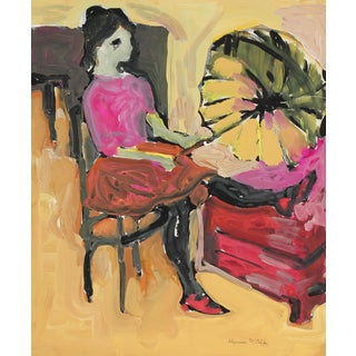 Bay Area Figurative Woman With Parasol, Distemper Paint, Circa 1960s For Sale