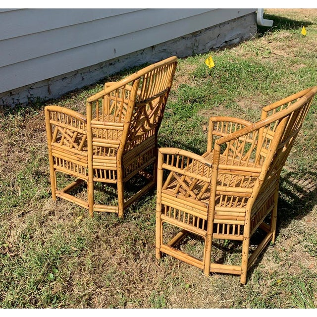 Chinoiserie Antique Chinese Bamboo Chairs - A Pair For Sale - Image 3 of 13