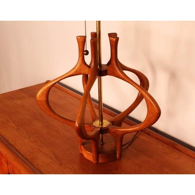 Modeline Modeline Sculptural Wood Mid-Century Table Lamp For Sale - Image 4 of 6