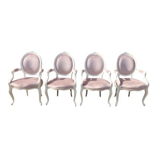 Vintage Mid Century Blush Upholstered Armchairs - Set of 4 For Sale