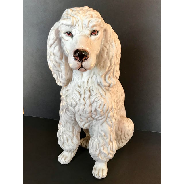 Vintage Italian Mid-Century Ceramic Poodle Figurine For Sale - Image 9 of 9