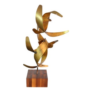 Vintage Mid-Century William Bowie Brutalist Gold Leaf Metal Sculpture For Sale