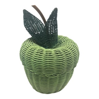 Vintage Wicker Green Apple Basket For Sale