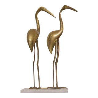 XL Large Pair of Hollywood Regency Brass Cranes on Marble Base For Sale