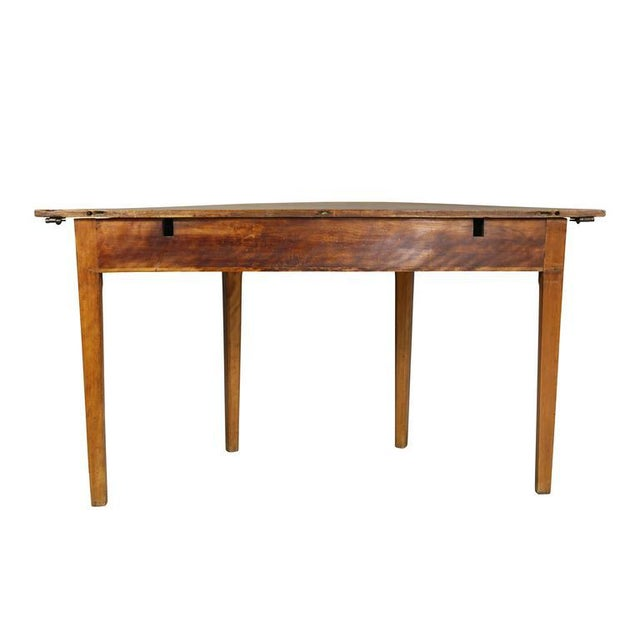 Wood Pair of Neoclassic Birch Demilune Console Tables For Sale - Image 7 of 10