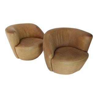 Mid-Century Modern Vladimir Kagan Nautilus Tan Leather Swivel Lounge Chairs - a Pair For Sale