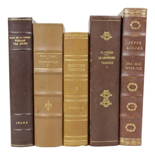 Leather-Bound Books - Set of 5