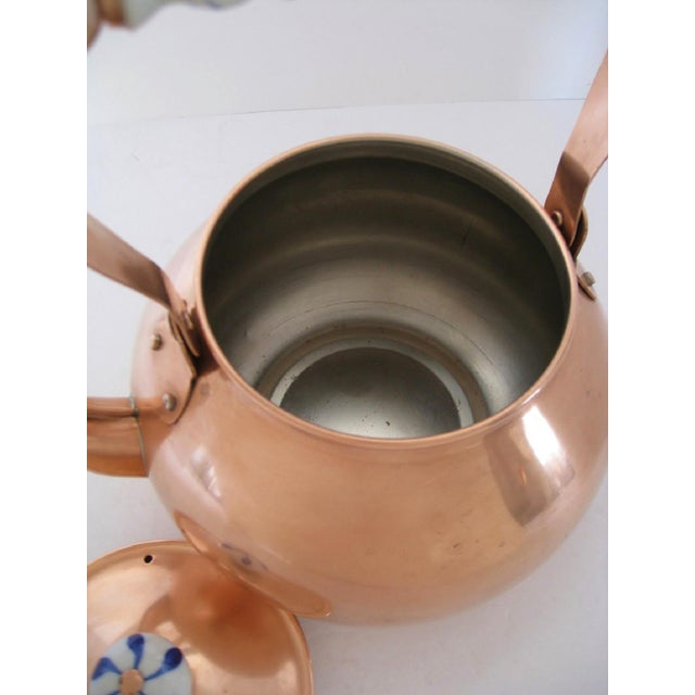 Copper & Porcelain Teapot For Sale In Los Angeles - Image 6 of 7