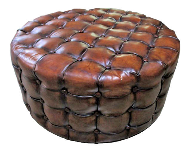 Leather Ottoman Round Top Grain Leather Coffee Table Size Very Ralph  Lauren! For Sale