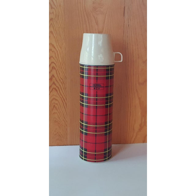 Retro Americana - vintage red plaid Thermos, great for an RV, camping, picnics, or for bringing coffee to work.