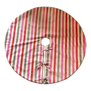 Pink, Orange, and Grey Tree Skirt For Sale
