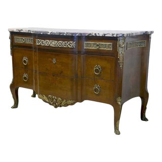 Late 19th Century French Louis XV Style Bronze Mounted Commode With Marble Top For Sale
