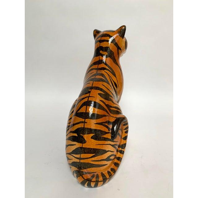 1960s Large Italian Terra Cotta Tiger Figure For Sale - Image 5 of 12