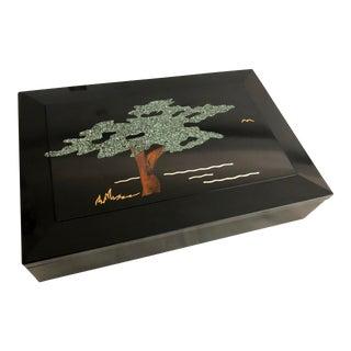 Vintage Monterey Style Signed Couroc Curio Box For Sale