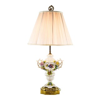 1960s Italian Porcelain and Brass Floral Motif Table Lamp For Sale