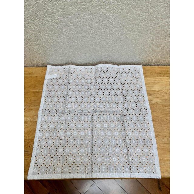 Sweet classic white all cotton eyelet napkins. Set of four. Perfect for the table or a picnic at the beach.